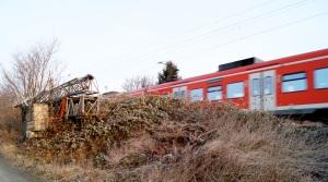 S-Bahn nach Hannover hinter Dornröschen-Hecke am Wintermorgen