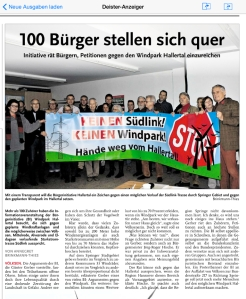 Südlink BI Völksen 21. Januar 2015/Deister Anzeiger