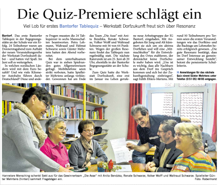 Bantorfer Tablequiz in der Presse