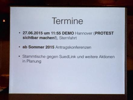 """Infos aus der Präsentation """"Keine Megastrommasten im Calenberger Land"""", Landringhausen, 4.6.2015"""