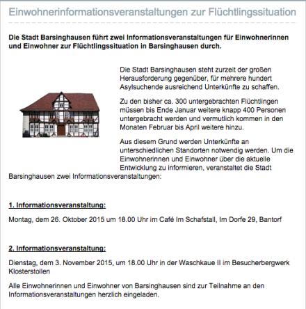 Screenshot der MItteilung aus dem Rathaus - Unterbringung von Flüchtlingen in Barsinghausen -